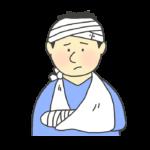 頭に包帯を巻き腕を骨折した男性のイラスト