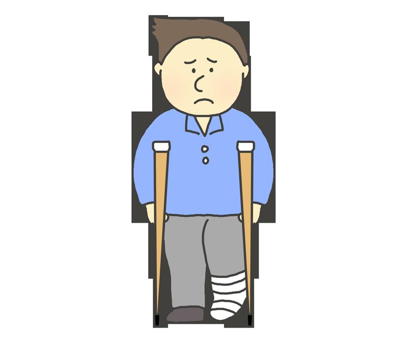 脚を骨折した男性のイラスト