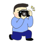 カメラで写真を撮影している男性のイラスト