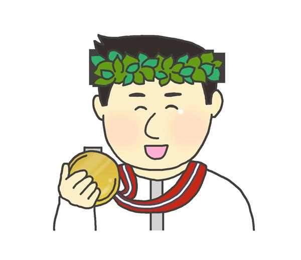 金メダルを持つ男性のイラスト
