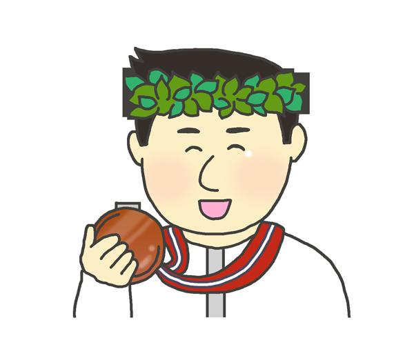 銅メダルを持つ男性のイラスト(日本人)