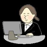 PCに向かって仕事をする女性社員のイラスト