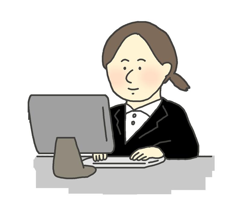 PCに向かって仕事をする女性会社員のイラスト