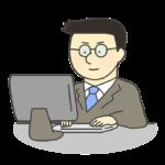 PCに向かって仕事をする男性会社員のイラスト