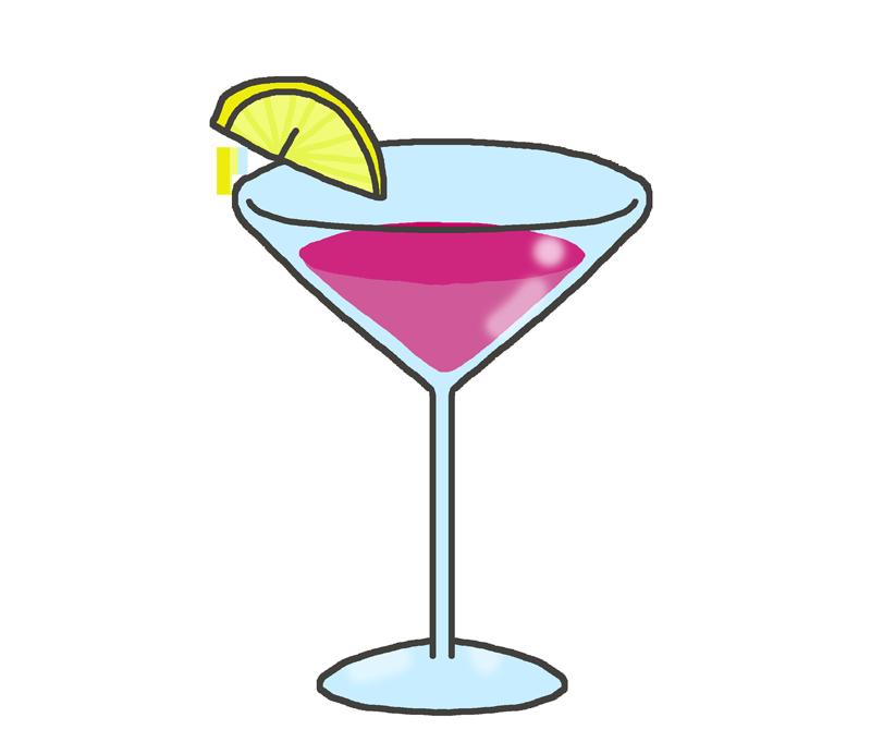 ピンク色のカクテルのイラスト