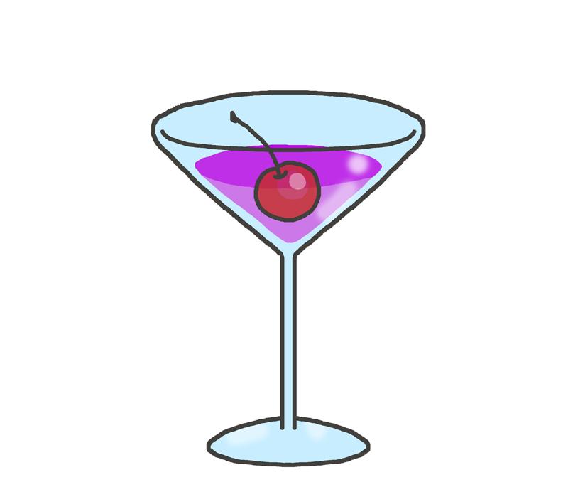 紫色のカクテルのイラスト