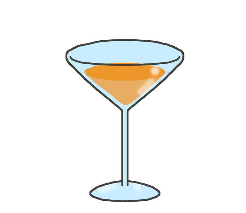 オレンジ色のカクテルのイラスト