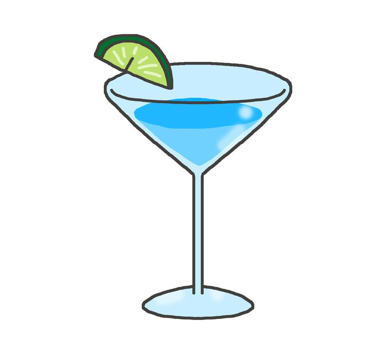 ブルー・水色のカクテルのイラスト