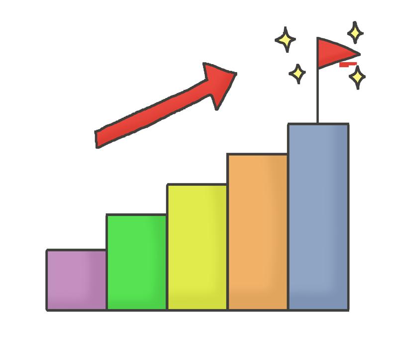 ステップアップ・成功グラフのイラスト