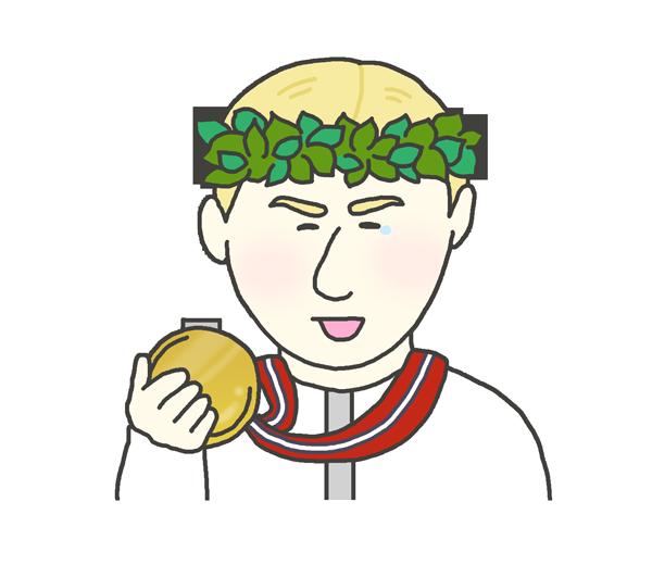 金メダルを持つ白人男性のイラスト