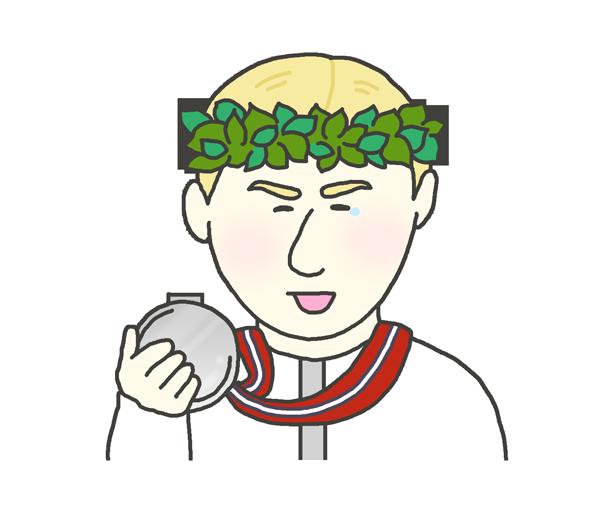 銀メダルを持つ白人男性のイラスト