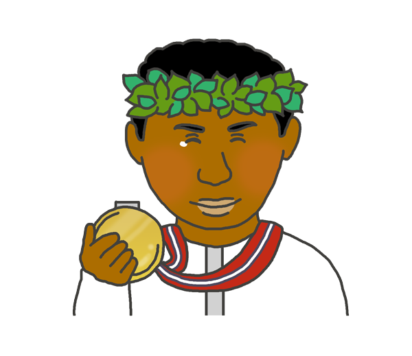 金メダルを持つ黒人男性のイラスト