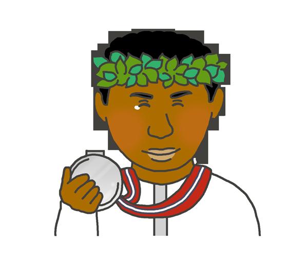 銀メダルを持つ黒人男性のイラスト