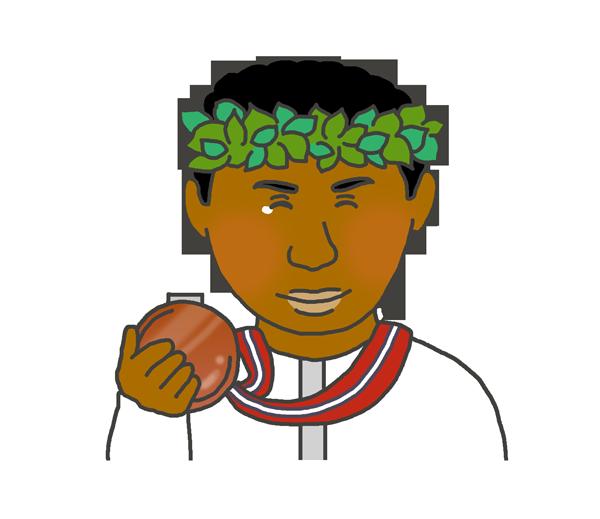 銅メダルを持つ黒人男性のイラスト