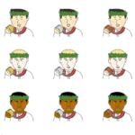 色々な国籍・人種のメダルを持つ男性のイラスト