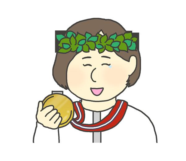 金メダルを持つ女性のイラスト(日本人)