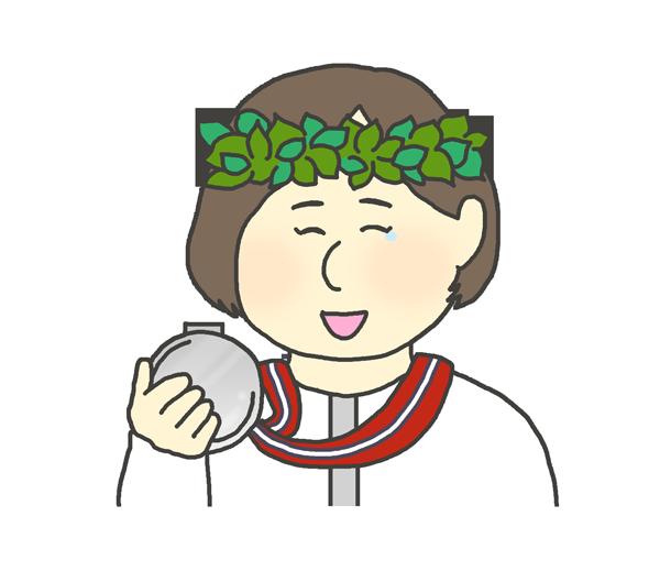 銀メダルを持つ女性のイラスト