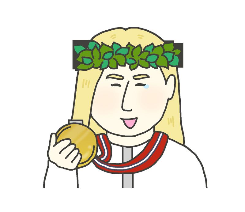 金メダルを持つ白人女性のイラスト
