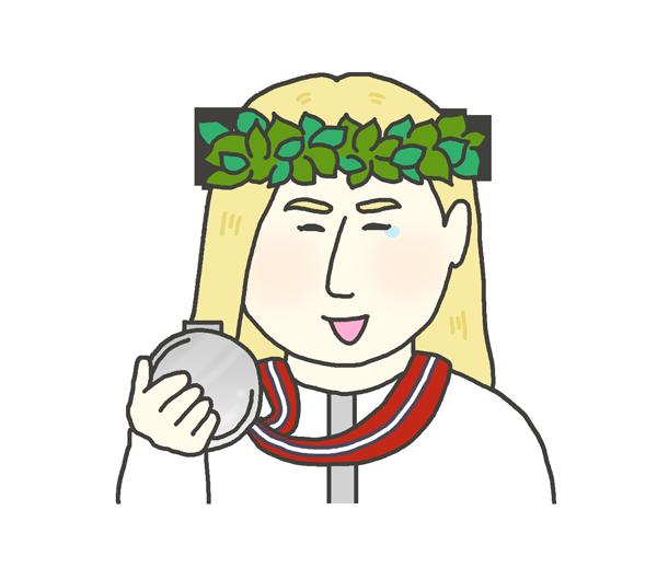 銀メダルを持つ白人女性のイラスト