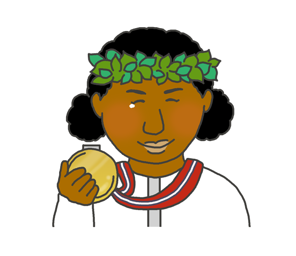 金メダルを持つ黒人女性のイラスト