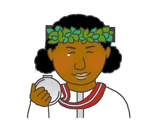銀メダルを持つ黒人女性のイラスト