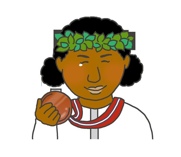 銅メダルを持つ黒人女性のイラスト