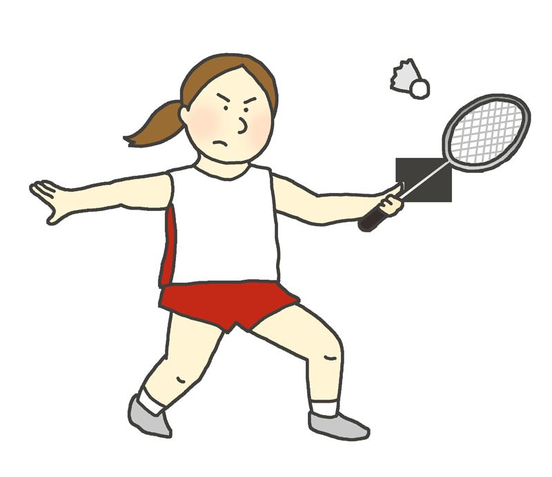 女子バドミントン選手のイラスト