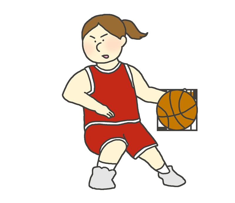 バスケのドリブルをする女子選手のイラスト