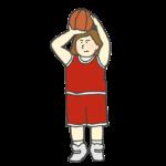 バスケのシュートをする女性選手のイラスト