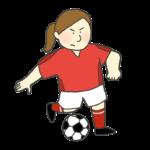サッカーのドリブルのイラスト(女性)