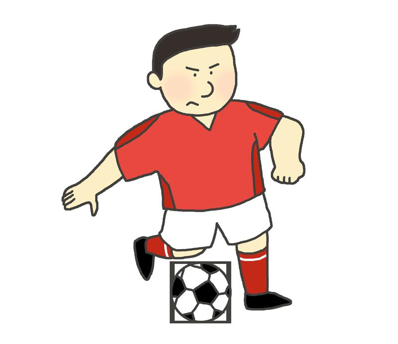 サッカーのドリブルのイラスト(男性)