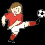 サッカーのシュートのイラスト(女性)