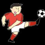 サッカーのシュートのイラスト(男性)