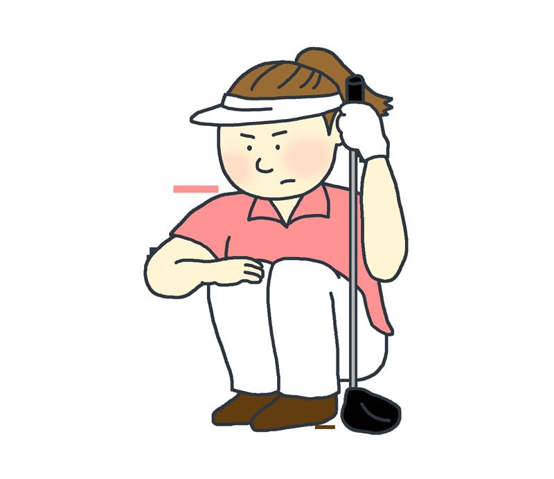 しゃがむゴルフプレイヤーのイラスト(女性)