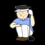 しゃがむゴルフプレイヤーのイラスト(男性)