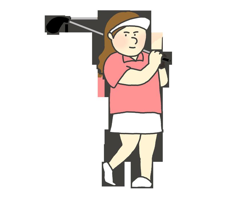 スイングするゴルフ選手のイラスト(女性)