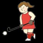 ホッケー女子選手のイラスト