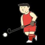 ホッケー男子選手のイラスト