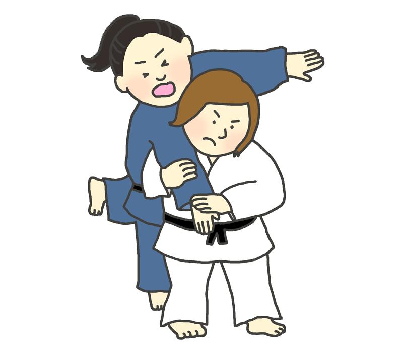 背負い投げのイラスト(女子柔道選手)