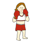 ボクシングの構えをとる女子ボクサーのイラスト