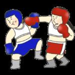 ボクシングの試合のイラスト(女子)