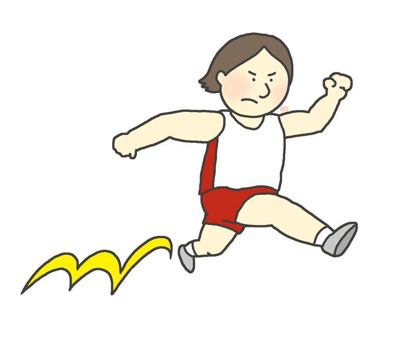 女子三段跳び選手のイラスト