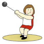 女子ハンマー投げ選手のイラスト