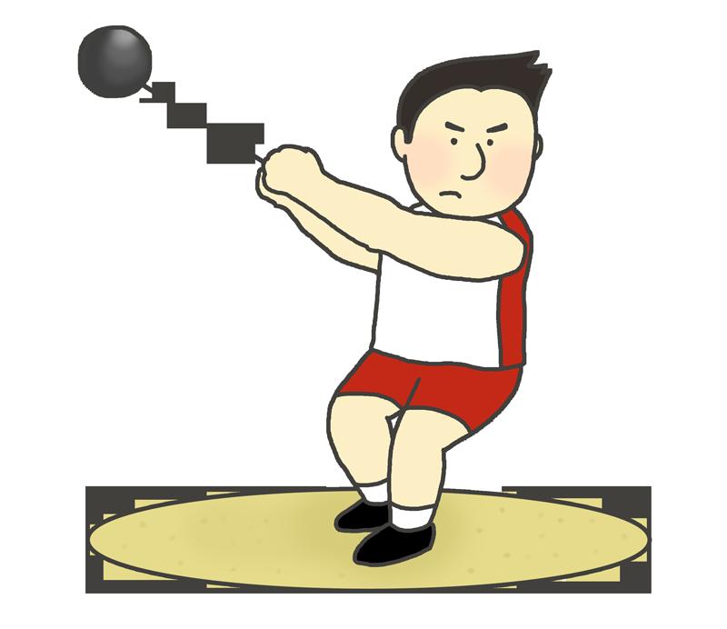 男子ハンマー投げ選手のイラスト