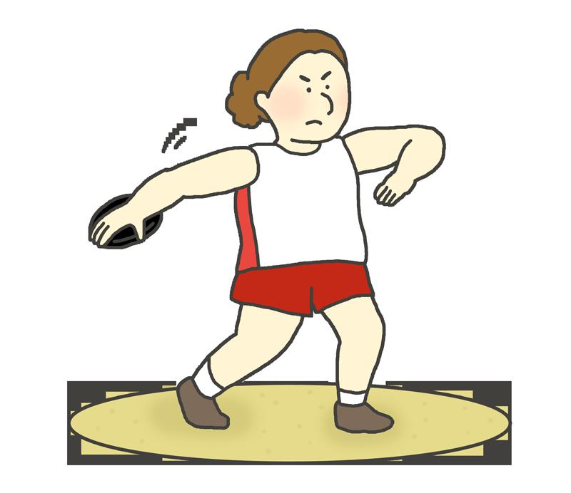女子円盤投げ選手のイラスト
