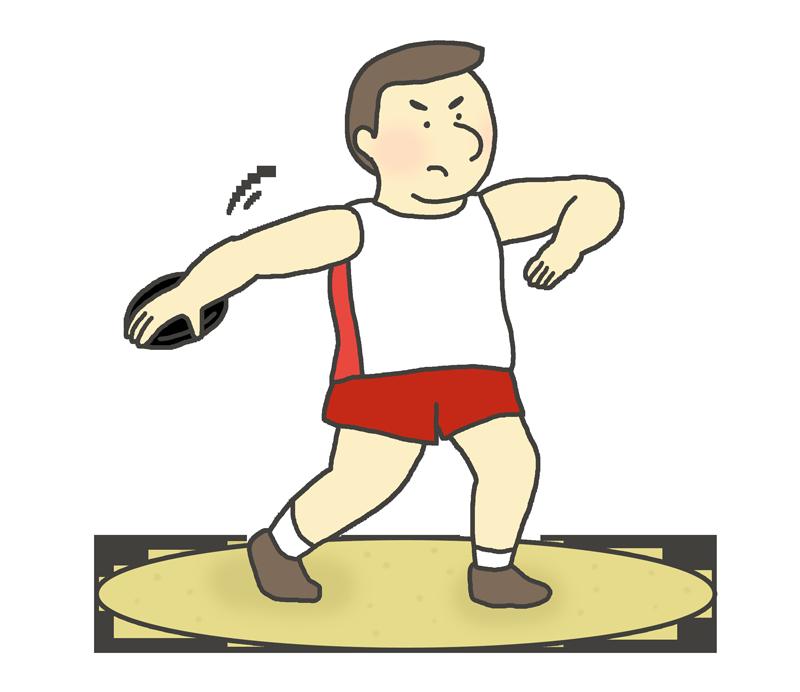男子円盤投げ選手のイラスト