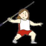 女子やり投げ選手のイラスト