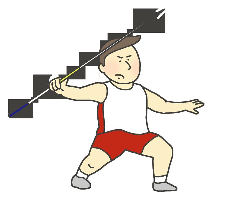 男子やり投げ選手のイラスト