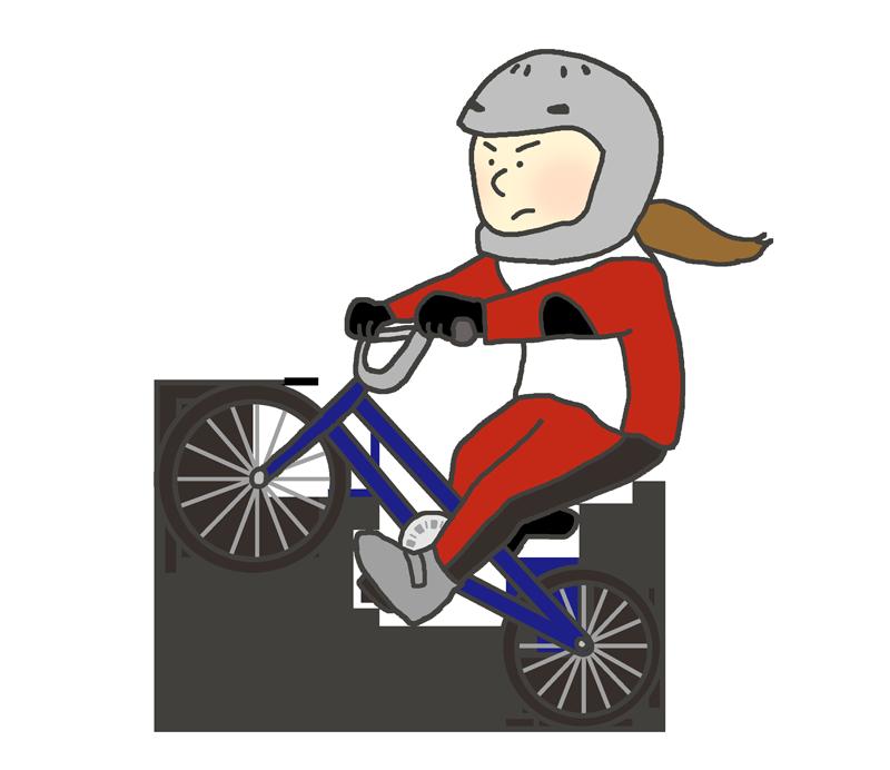 女子BMX選手のイラスト