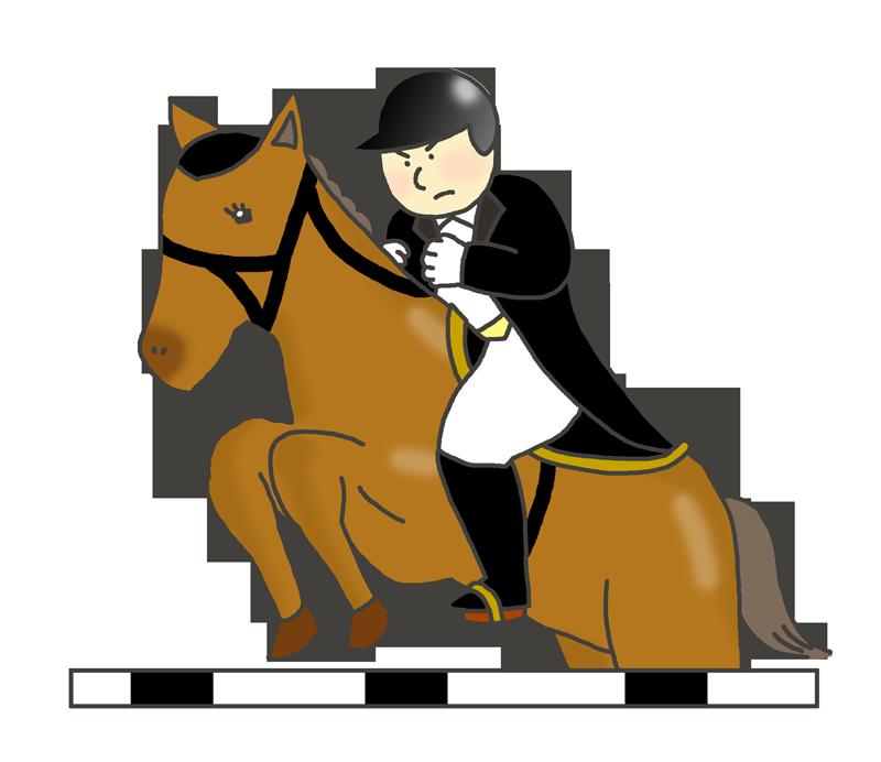 障害馬術のイラスト(男性騎手)